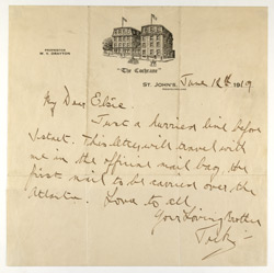 Newfoundland: Letter from John Alcock to his sister dated 12th June, 1919 and carried in the cover above.